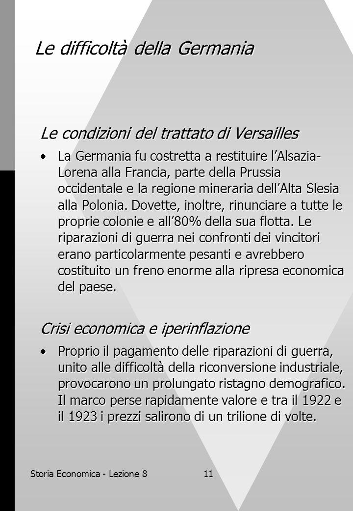 Storia Economica - Lezione 811 Le difficoltà della Germania Le condizioni del trattato di Versailles La Germania fu costretta a restituire l'Alsazia- Lorena alla Francia, parte della Prussia occidentale e la regione mineraria dell'Alta Slesia alla Polonia.