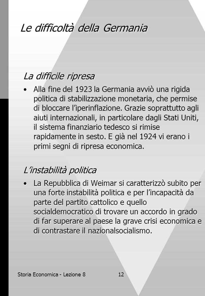 Storia Economica - Lezione 812 Le difficoltà della Germania La difficile ripresa Alla fine del 1923 la Germania avviò una rigida politica di stabilizzazione monetaria, che permise di bloccare l'iperinflazione.