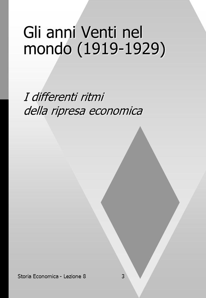 Storia Economica - Lezione 83 Gli anni Venti nel mondo (1919-1929) I differenti ritmi della ripresa economica