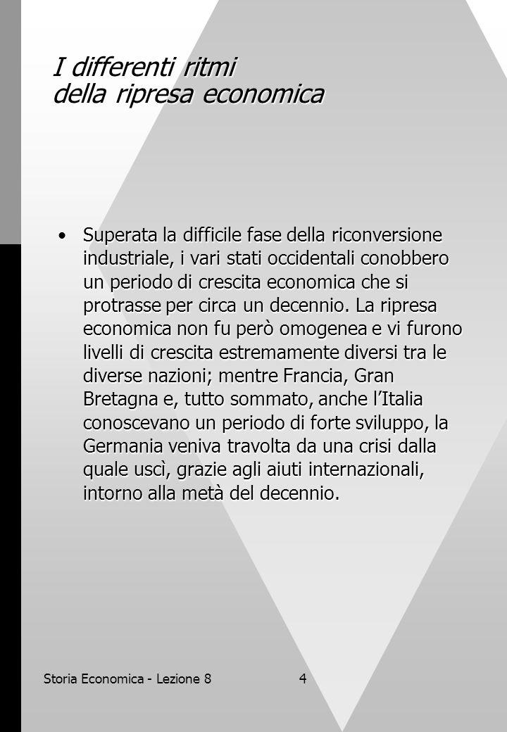 Storia Economica - Lezione 84 I differenti ritmi della ripresa economica Superata la difficile fase della riconversione industriale, i vari stati occidentali conobbero un periodo di crescita economica che si protrasse per circa un decennio.