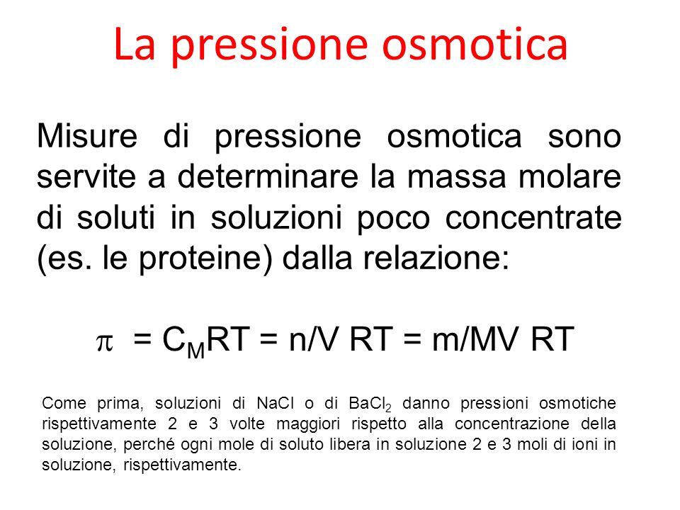 La pressione osmotica Misure di pressione osmotica sono servite a determinare la massa molare di soluti in soluzioni poco concentrate (es. le proteine