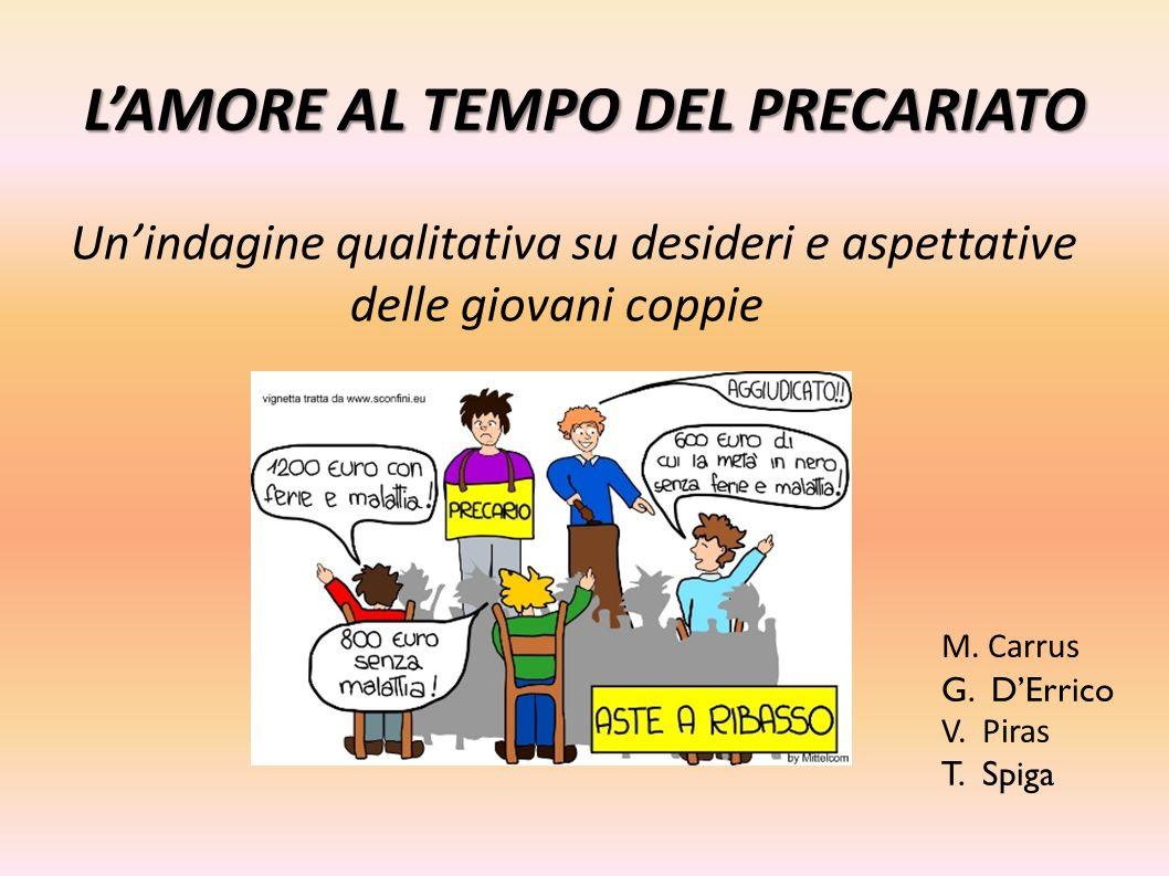 L'AMORE AL TEMPO DEL PRECARIATO Un'indagine qualitativa su desideri e aspettative delle giovani coppie M. Carrus G. D'Errico V. Piras T. Spiga
