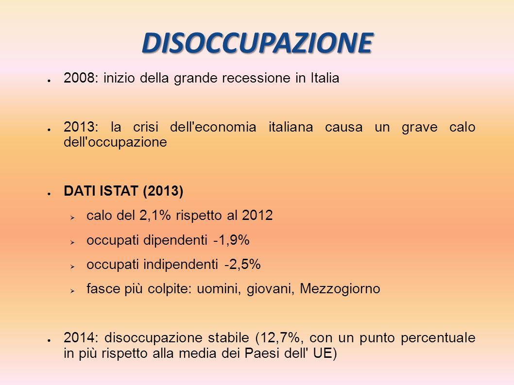 DISOCCUPAZIONE ● 2008: inizio della grande recessione in Italia ● 2013: la crisi dell'economia italiana causa un grave calo dell'occupazione ● DATI IS