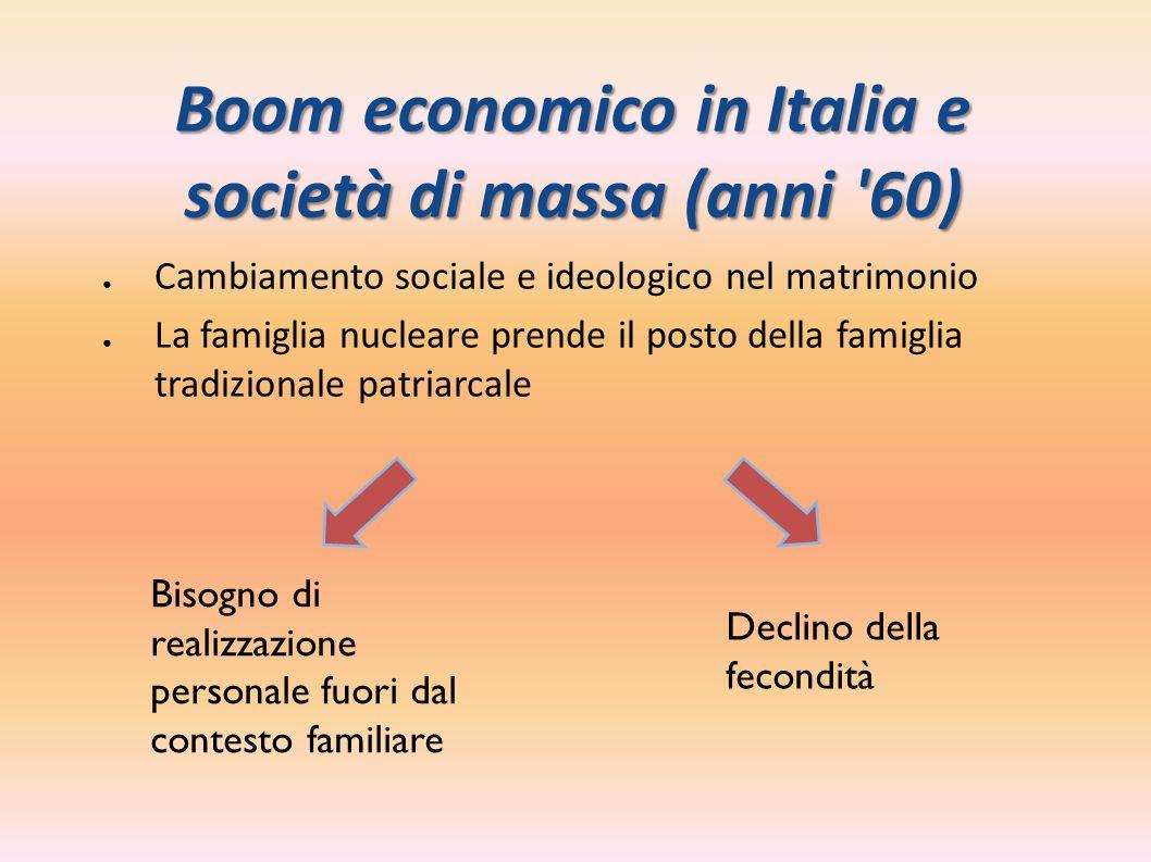 Boom economico in Italia e società di massa (anni '60) ●Cambiamento sociale e ideologico nel matrimonio ●La famiglia nucleare prende il posto della fa