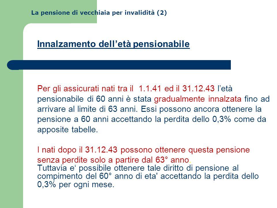 La pensione di vecchiaia per invalidità (2) Innalzamento dell'età pensionabile Per gli assicurati nati tra il 1.1.41 ed il 31.12.43 l'età pensionabile di 60 anni è stata gradualmente innalzata fino ad arrivare al limite di 63 anni.