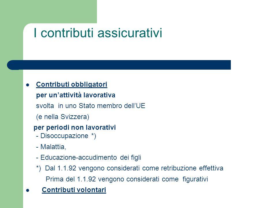 I contributi assicurativi Contributi obbligatori per un'attività lavorativa svolta in uno Stato membro dell'UE (e nella Svizzera) per periodi non lavorativi - Disoccupazione *) - Malattia, - Educazione-accudimento dei figli *) Dal 1.1.92 vengono considerati come retribuzione effettiva Prima del 1.1.92 vengono considerati come figurativi Contributi volontari