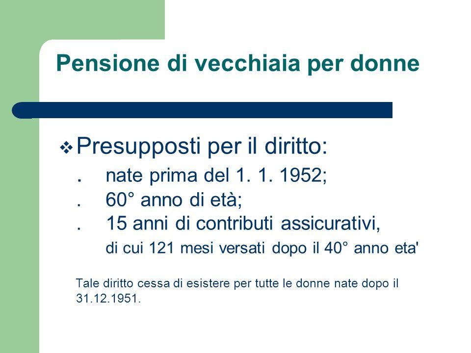 Pensione di vecchiaia per donne Innalzamento dell'età minima pensionabile l'età pensionabile per le donne é stata gradualmente innalzata a 65 anni.