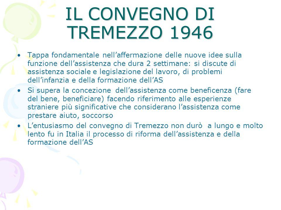 IL CONVEGNO DI TREMEZZO 1946 Tappa fondamentale nell'affermazione delle nuove idee sulla funzione dell'assistenza che dura 2 settimane: si discute di
