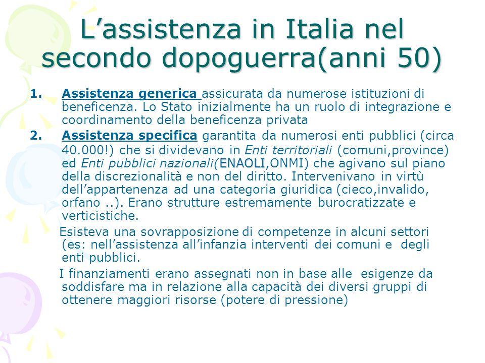L'assistenza in Italia nel secondo dopoguerra(anni 50) 1.Assistenza generica assicurata da numerose istituzioni di beneficenza. Lo Stato inizialmente