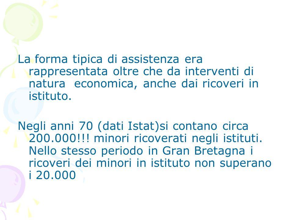 La forma tipica di assistenza era rappresentata oltre che da interventi di natura economica, anche dai ricoveri in istituto. Negli anni 70 (dati Istat