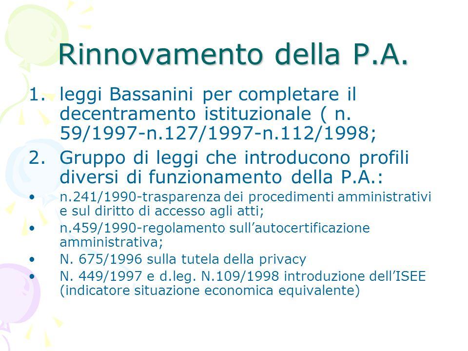 1.leggi Bassanini per completare il decentramento istituzionale ( n. 59/1997-n.127/1997-n.112/1998; 2.Gruppo di leggi che introducono profili diversi