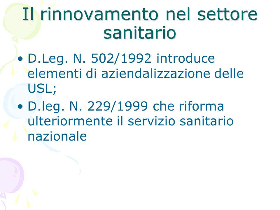Il rinnovamento nel settore sanitario D.Leg. N. 502/1992 introduce elementi di aziendalizzazione delle USL; D.leg. N. 229/1999 che riforma ulteriormen