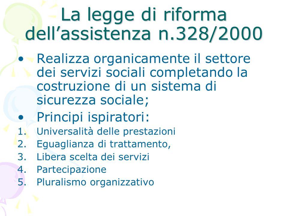 La legge di riforma dell'assistenza n.328/2000 Realizza organicamente il settore dei servizi sociali completando la costruzione di un sistema di sicur
