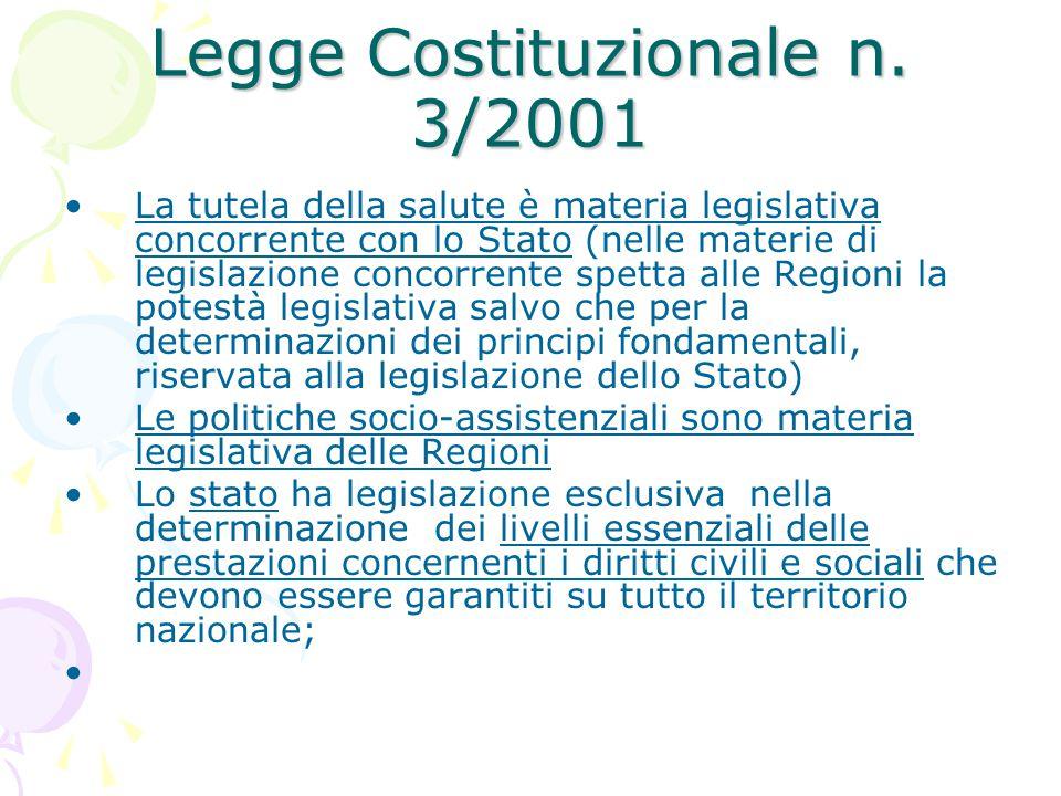 Legge Costituzionale n. 3/2001 La tutela della salute è materia legislativa concorrente con lo Stato (nelle materie di legislazione concorrente spetta