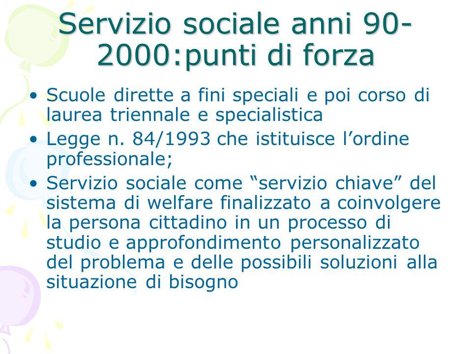 Servizio sociale anni 90- 2000:punti di forza Scuole dirette a fini speciali e poi corso di laurea triennale e specialistica Legge n. 84/1993 che isti