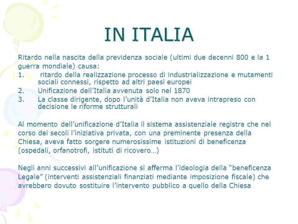 IN ITALIA Ritardo nella nascita della previdenza sociale (ultimi due decenni 800 e la 1 guerra mondiale) causa: 1. ritardo della realizzazione process