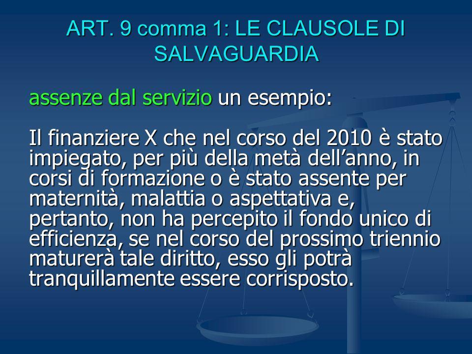 ART. 9 comma 1: LE CLAUSOLE DI SALVAGUARDIA assenze dal servizio un esempio: Il finanziere X che nel corso del 2010 è stato impiegato, per più della m