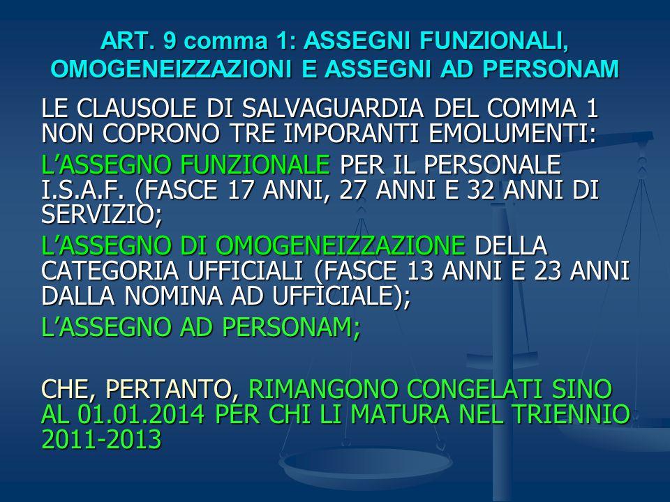 ART. 9 comma 1: ASSEGNI FUNZIONALI, OMOGENEIZZAZIONI E ASSEGNI AD PERSONAM LE CLAUSOLE DI SALVAGUARDIA DEL COMMA 1 NON COPRONO TRE IMPORANTI EMOLUMENT