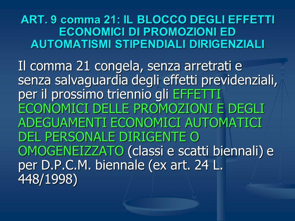 ART. 9 comma 21: IL BLOCCO DEGLI EFFETTI ECONOMICI DI PROMOZIONI ED AUTOMATISMI STIPENDIALI DIRIGENZIALI Il comma 21 congela, senza arretrati e senza