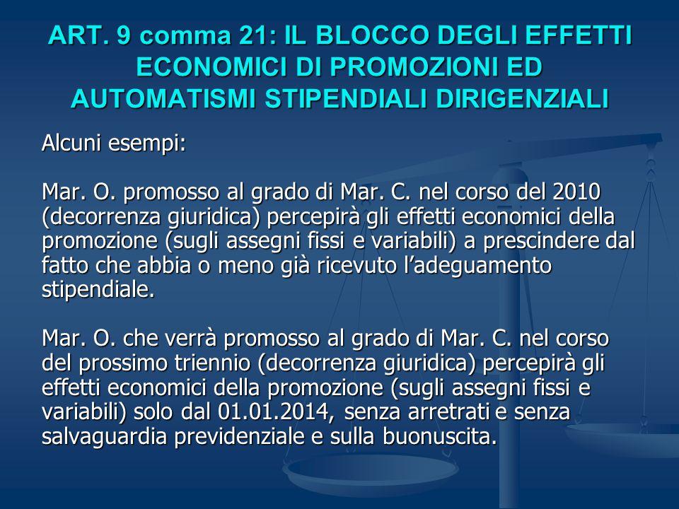 ART. 9 comma 21: IL BLOCCO DEGLI EFFETTI ECONOMICI DI PROMOZIONI ED AUTOMATISMI STIPENDIALI DIRIGENZIALI Alcuni esempi: Mar. O. promosso al grado di M