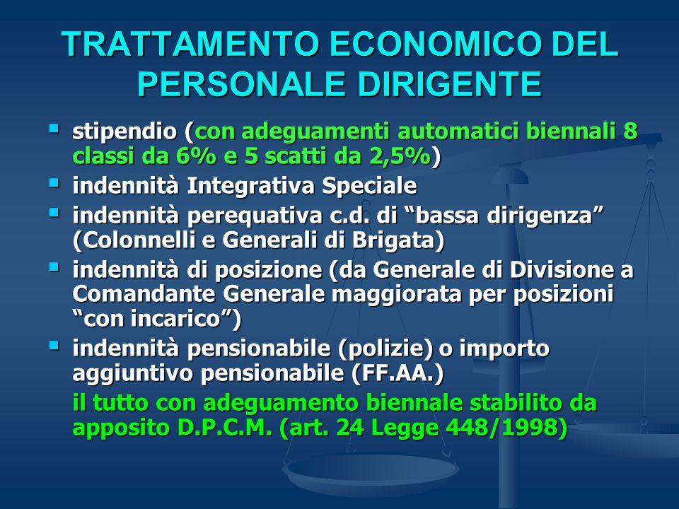 TRATTAMENTO ECONOMICO DEL PERSONALE DIRIGENTE  stipendio (con adeguamenti automatici biennali 8 classi da 6% e 5 scatti da 2,5%)  indennità Integrativa Speciale  indennità perequativa c.d.