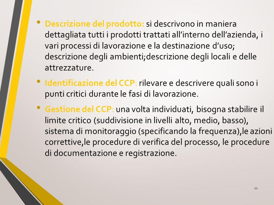 Descrizione del prodotto: si descrivono in maniera dettagliata tutti i prodotti trattati all'interno dell'azienda, i vari processi di lavorazione e la