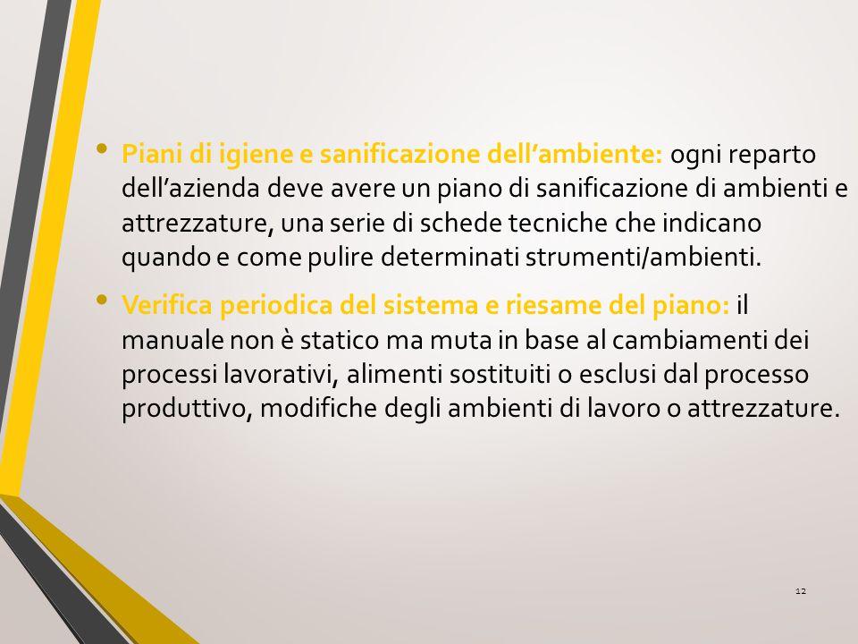Piani di igiene e sanificazione dell'ambiente: ogni reparto dell'azienda deve avere un piano di sanificazione di ambienti e attrezzature, una serie di