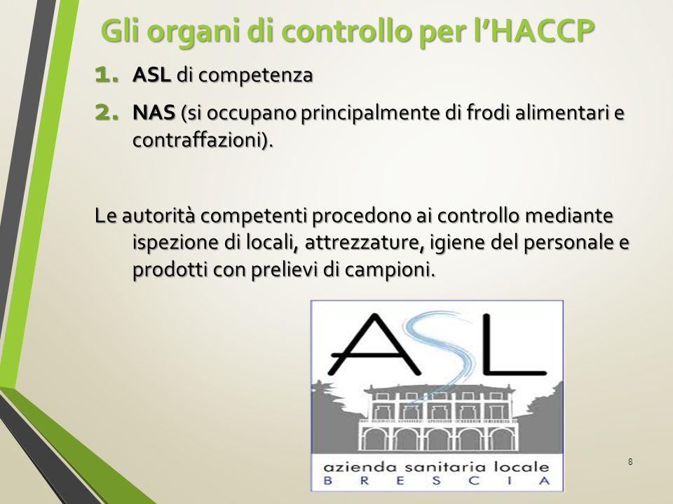 Gli organi di controllo per l'HACCP Gli organi di controllo per l'HACCP 1. ASL di competenza 2. NAS (si occupano principalmente di frodi alimentari e