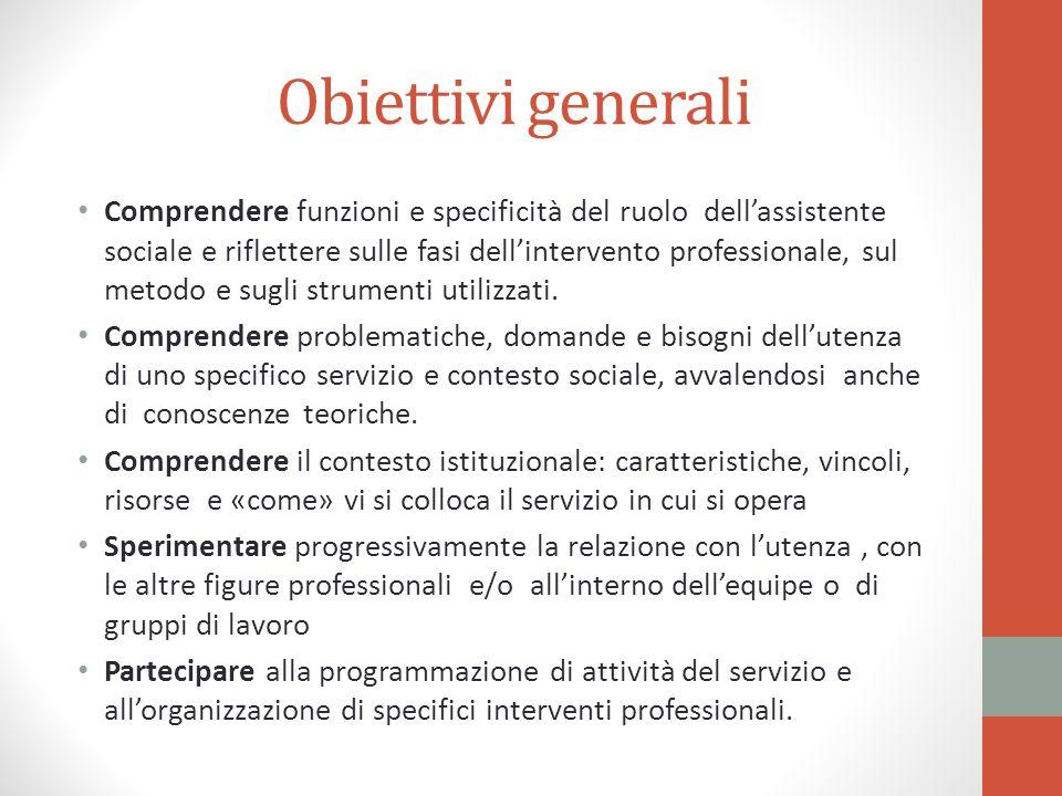 Obiettivi generali Comprendere funzioni e specificità del ruolo dell'assistente sociale e riflettere sulle fasi dell'intervento professionale, sul met