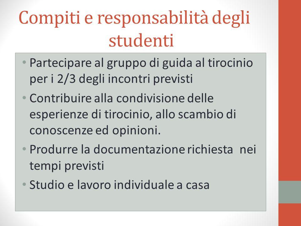 Compiti e responsabilità degli studenti Partecipare al gruppo di guida al tirocinio per i 2/3 degli incontri previsti Contribuire alla condivisione de