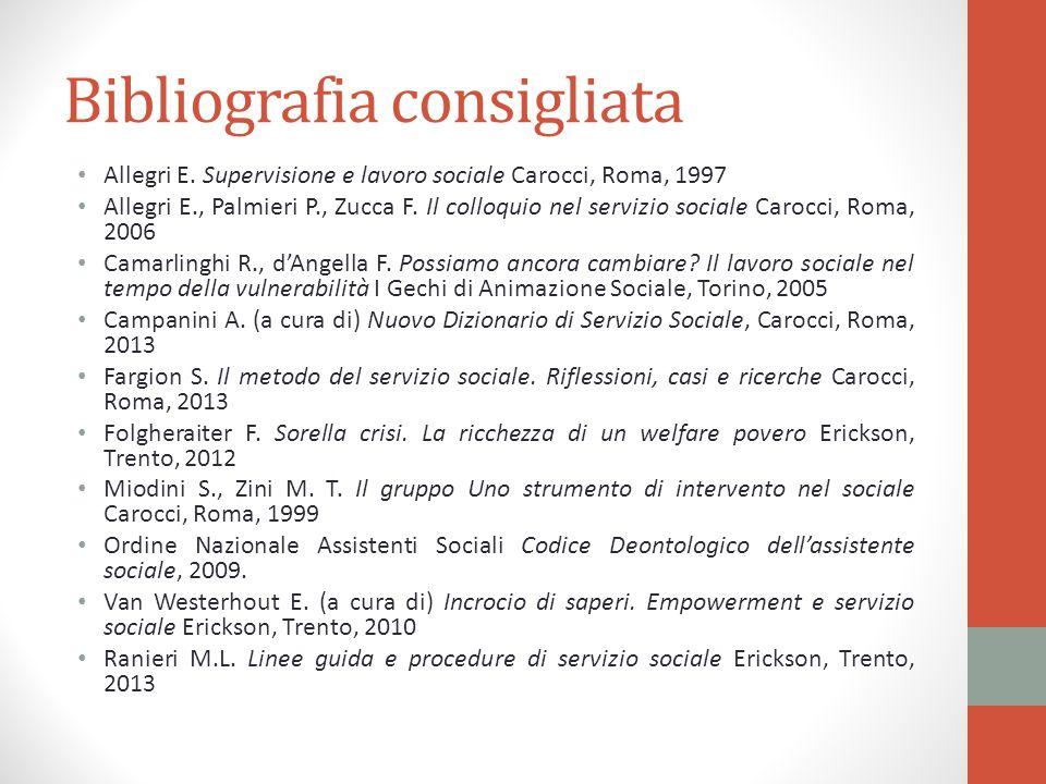 Bibliografia consigliata Allegri E. Supervisione e lavoro sociale Carocci, Roma, 1997 Allegri E., Palmieri P., Zucca F. Il colloquio nel servizio soci