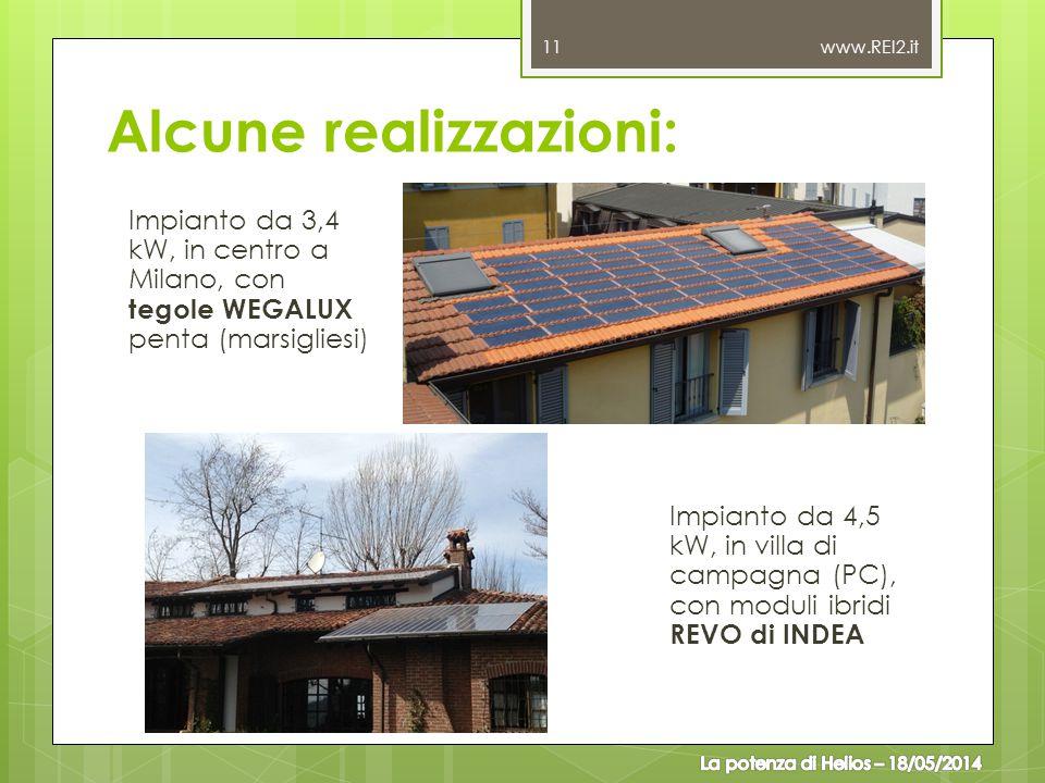 Alcune realizzazioni: Impianto da 3,4 kW, in centro a Milano, con tegole WEGALUX penta (marsigliesi) 11 www.REI2.it Impianto da 4,5 kW, in villa di ca