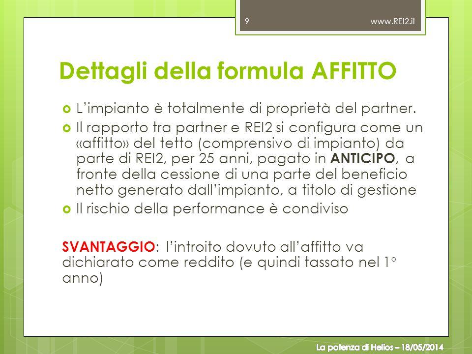 Dettagli della formula AFFITTO  L'impianto è totalmente di proprietà del partner.  Il rapporto tra partner e REI2 si configura come un «affitto» del