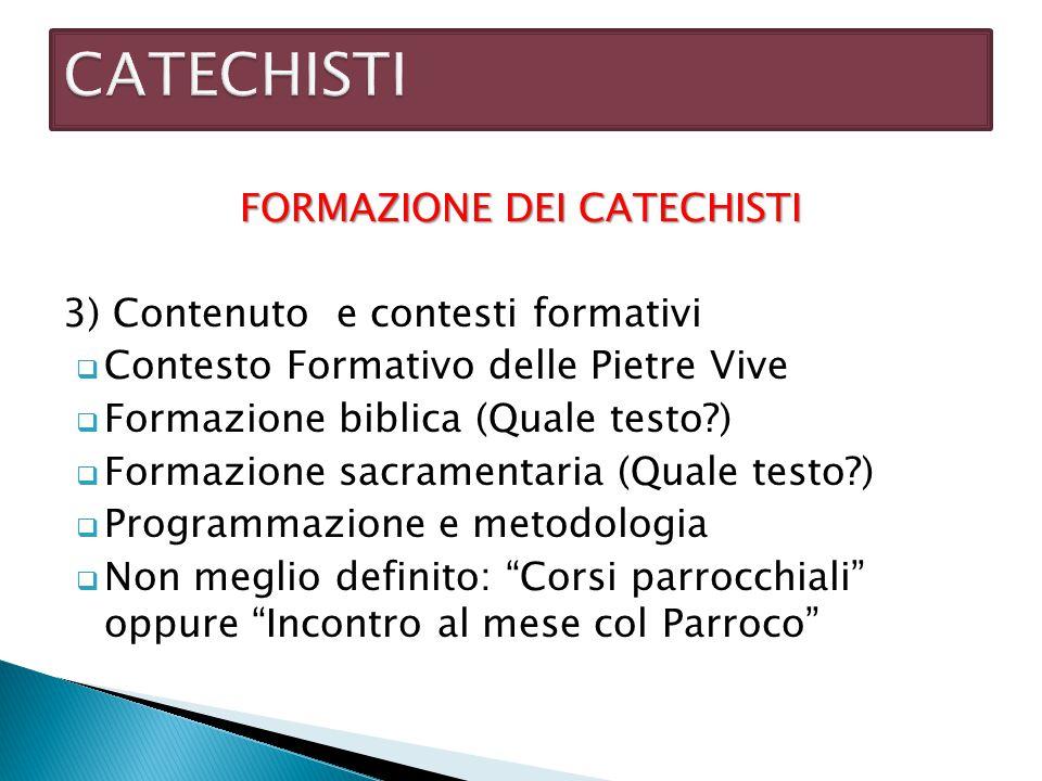 FORMAZIONE DEI CATECHISTI 3) Contenuto e contesti formativi  Contesto Formativo delle Pietre Vive  Formazione biblica (Quale testo?)  Formazione sa