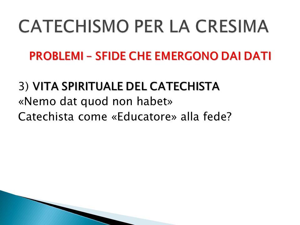 PROBLEMI – SFIDE CHE EMERGONO DAI DATI VITA SPIRITUALE DEL CATECHISTA 3) VITA SPIRITUALE DEL CATECHISTA «Nemo dat quod non habet» Catechista come «Edu