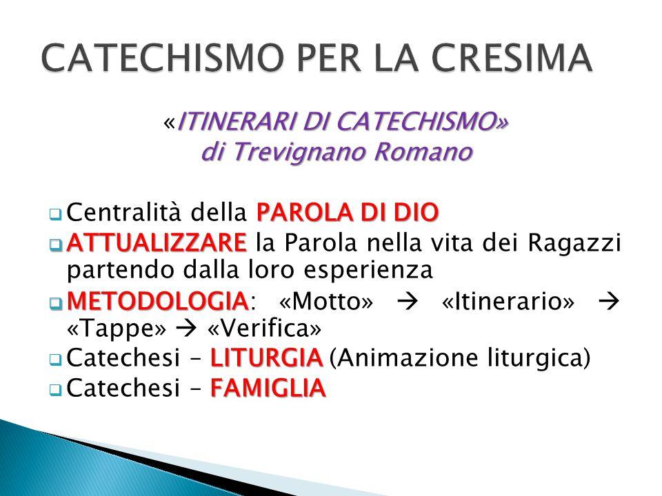 ITINERARI DI CATECHISMO» «ITINERARI DI CATECHISMO» di Trevignano Romano PAROLA DI DIO  Centralità della PAROLA DI DIO  ATTUALIZZARE  ATTUALIZZARE l