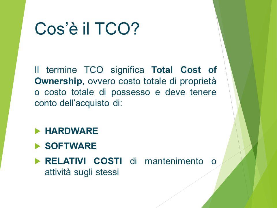 Il termine TCO significa Total Cost of Ownership, ovvero costo totale di proprietà o costo totale di possesso e deve tenere conto dell'acquisto di:  HARDWARE  SOFTWARE  RELATIVI COSTI di mantenimento o attività sugli stessi Cos'è il TCO