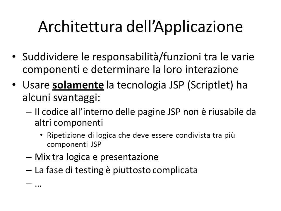 Architettura dell'Applicazione Suddividere le responsabilità/funzioni tra le varie componenti e determinare la loro interazione Usare solamente la tec
