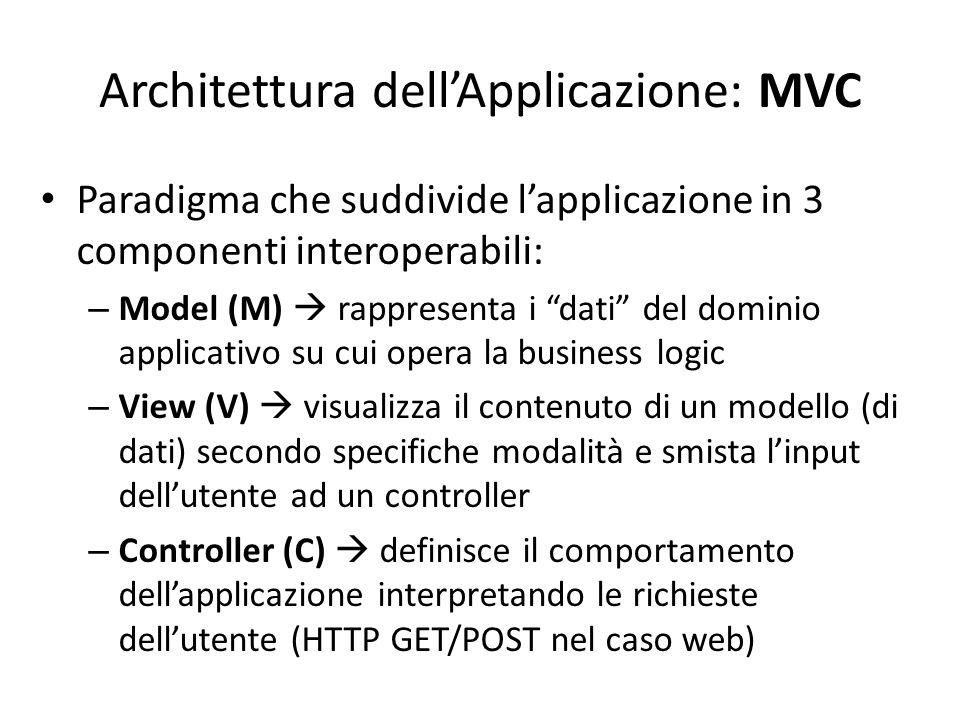 """Architettura dell'Applicazione: MVC Paradigma che suddivide l'applicazione in 3 componenti interoperabili: – Model (M)  rappresenta i """"dati"""" del domi"""