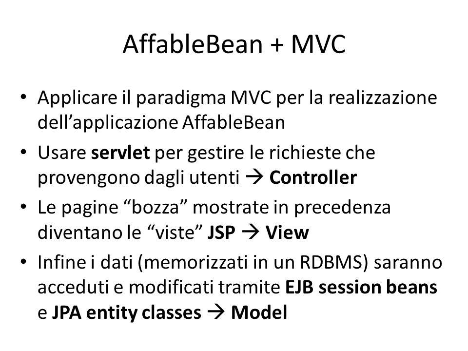 AffableBean + MVC Applicare il paradigma MVC per la realizzazione dell'applicazione AffableBean Usare servlet per gestire le richieste che provengono