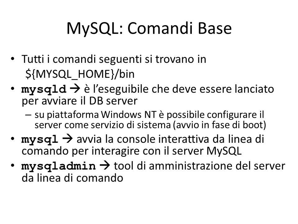 MySQL: Comandi Base Tutti i comandi seguenti si trovano in ${MYSQL_HOME}/bin mysqld  è l'eseguibile che deve essere lanciato per avviare il DB server
