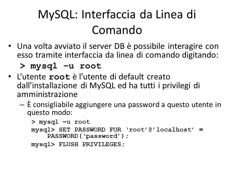 MySQL: Interfaccia da Linea di Comando Una volta avviato il server DB è possibile interagire con esso tramite interfaccia da linea di comando digitand
