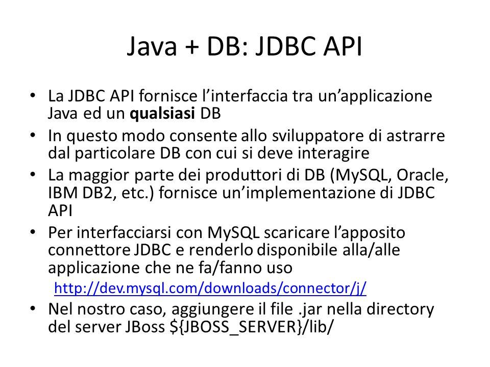 Java + DB: JDBC API La JDBC API fornisce l'interfaccia tra un'applicazione Java ed un qualsiasi DB In questo modo consente allo sviluppatore di astrar