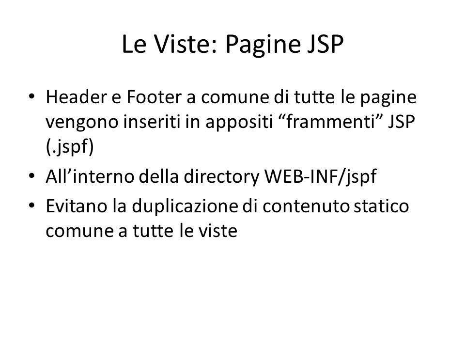 """Le Viste: Pagine JSP Header e Footer a comune di tutte le pagine vengono inseriti in appositi """"frammenti"""" JSP (.jspf) All'interno della directory WEB-"""