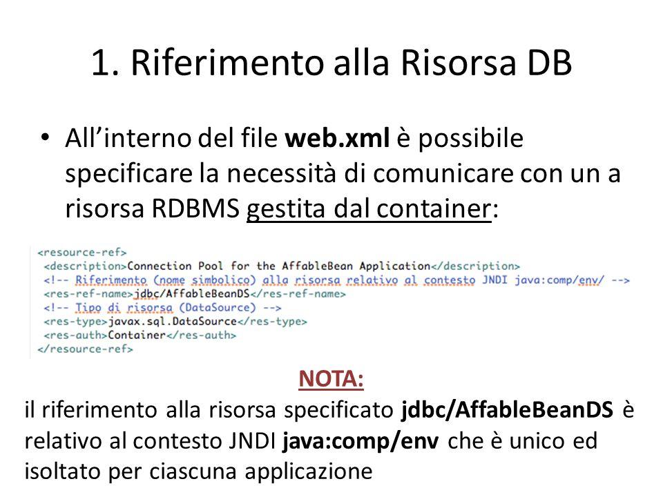1. Riferimento alla Risorsa DB All'interno del file web.xml è possibile specificare la necessità di comunicare con un a risorsa RDBMS gestita dal cont
