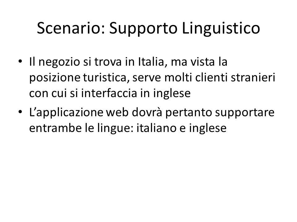 Scenario: Supporto Linguistico Il negozio si trova in Italia, ma vista la posizione turistica, serve molti clienti stranieri con cui si interfaccia in
