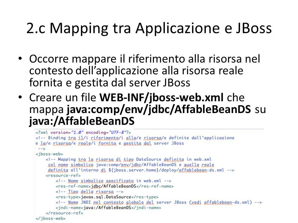 2.c Mapping tra Applicazione e JBoss Occorre mappare il riferimento alla risorsa nel contesto dell'applicazione alla risorsa reale fornita e gestita d
