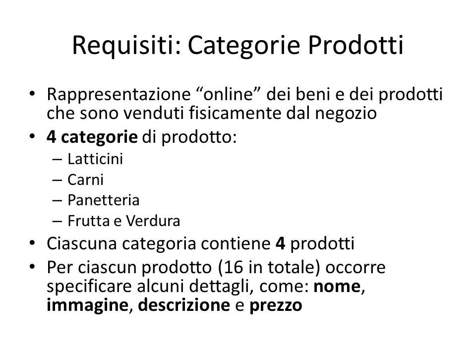 """Requisiti: Categorie Prodotti Rappresentazione """"online"""" dei beni e dei prodotti che sono venduti fisicamente dal negozio 4 categorie di prodotto: – La"""