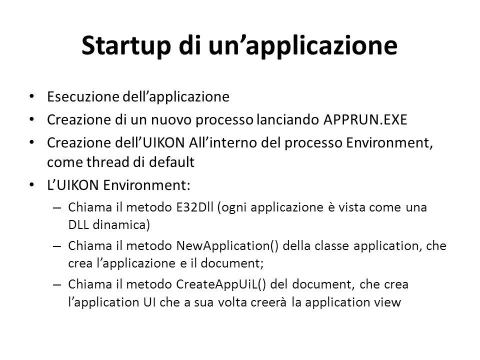 Startup di un'applicazione Esecuzione dell'applicazione Creazione di un nuovo processo lanciando APPRUN.EXE Creazione dell'UIKON All'interno del processo Environment, come thread di default L'UIKON Environment: – Chiama il metodo E32Dll (ogni applicazione è vista come una DLL dinamica) – Chiama il metodo NewApplication() della classe application, che crea l'applicazione e il document; – Chiama il metodo CreateAppUiL() del document, che crea l'application UI che a sua volta creerà la application view