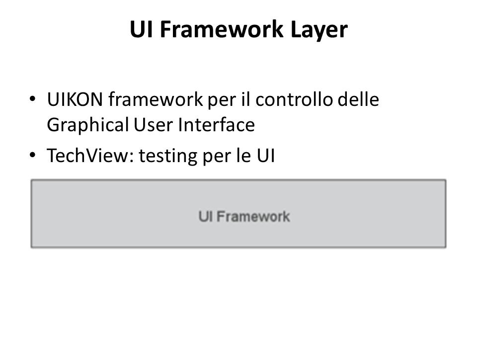 UI Framework Layer UIKON framework per il controllo delle Graphical User Interface TechView: testing per le UI